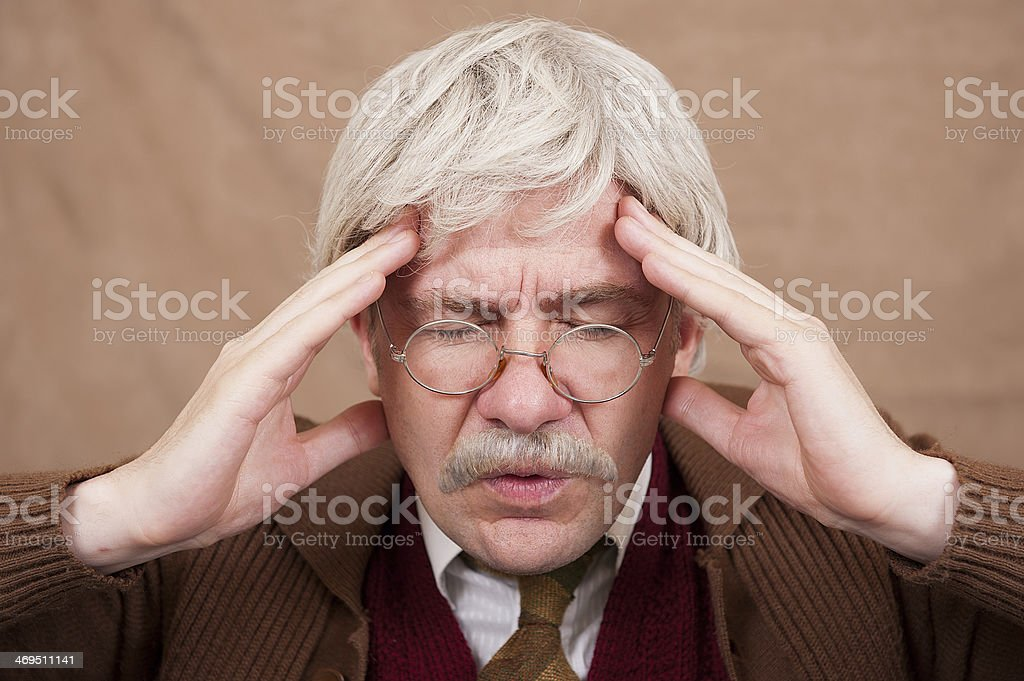 Old Man With Headache royalty-free stock photo