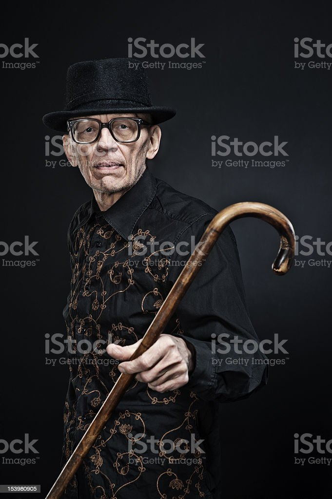 old man with walkings-tick1 royalty-free stock photo