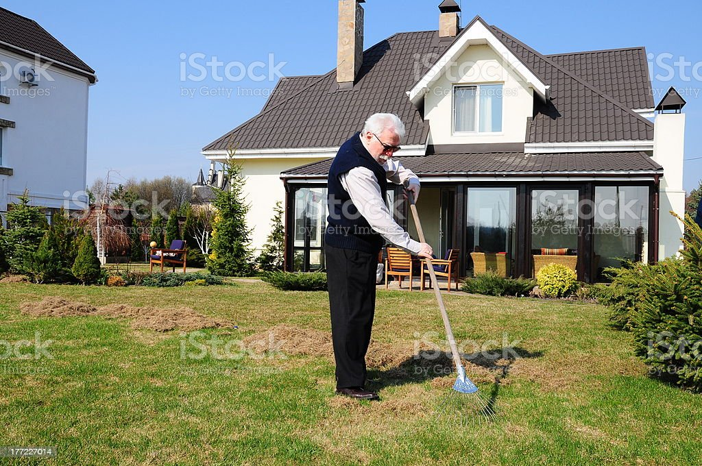 old man working on garden royalty-free stock photo