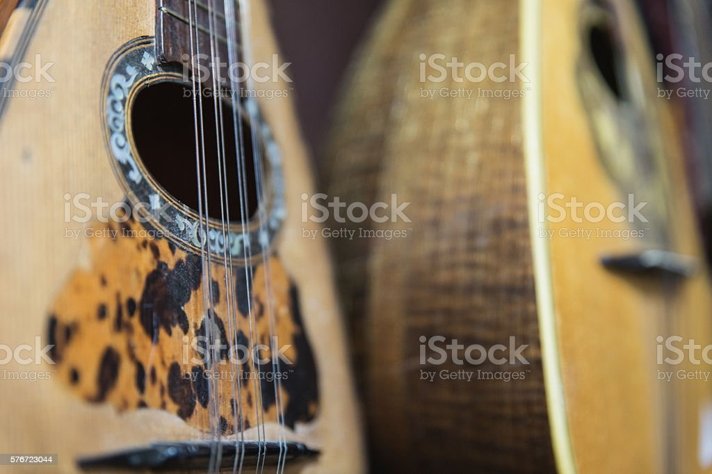 Old mandolins stock photo