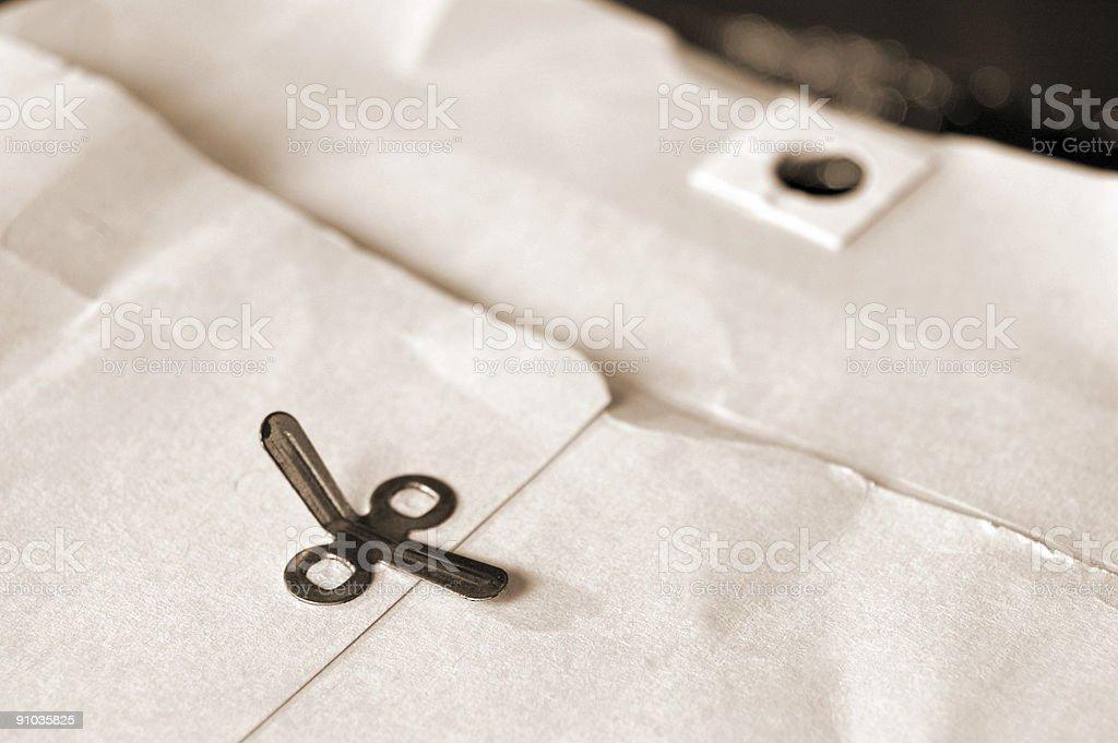 Old manilla envelope stock photo