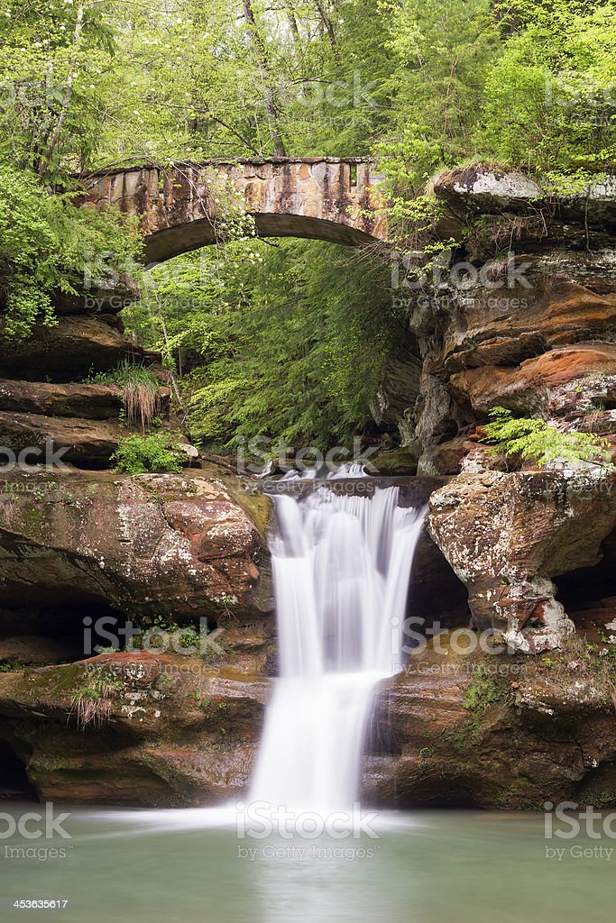 Old Man's Cave Waterfall and Bridge royalty-free stock photo