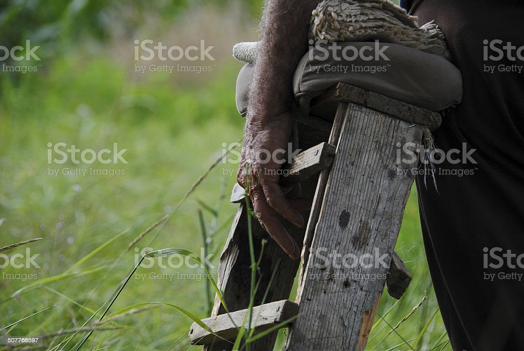 Old man's hand with a chair while shepherding goats stock photo