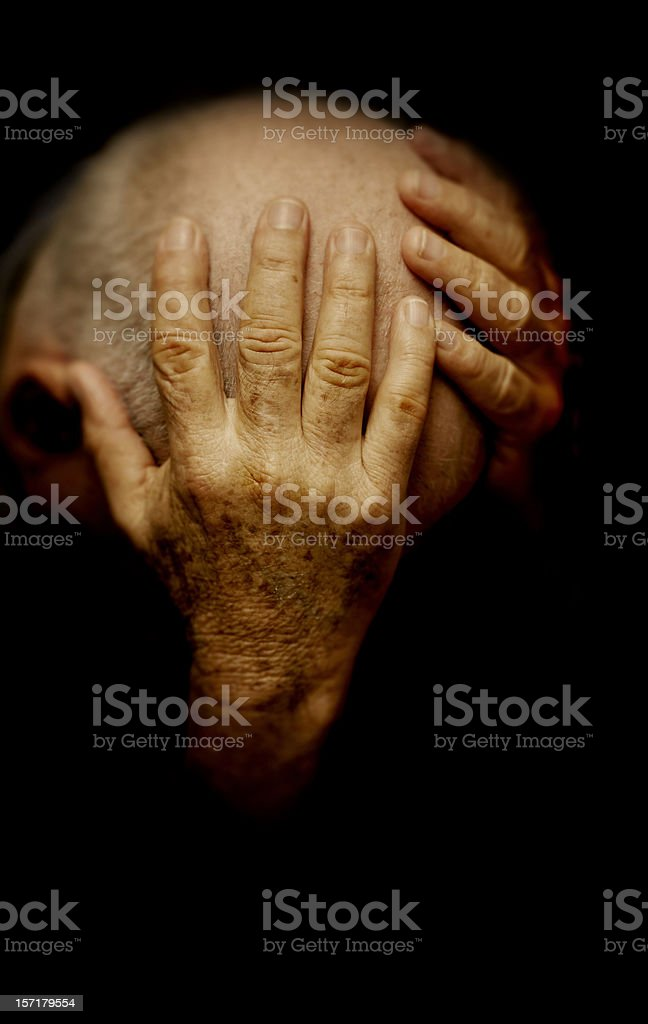 old mans hands royalty-free stock photo