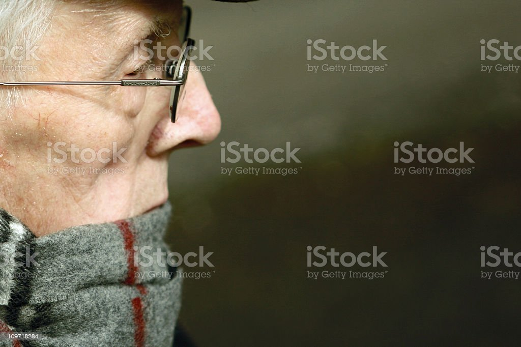 Old man's profile stock photo