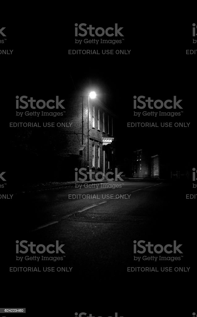Old Mansion Seen At Night In An English Village stock photo