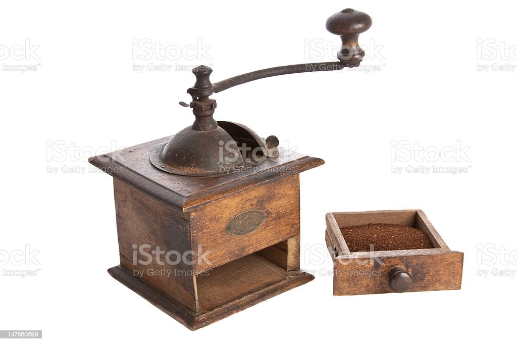 Old manual Coffee Grinder machine wooden made royalty-free stock photo