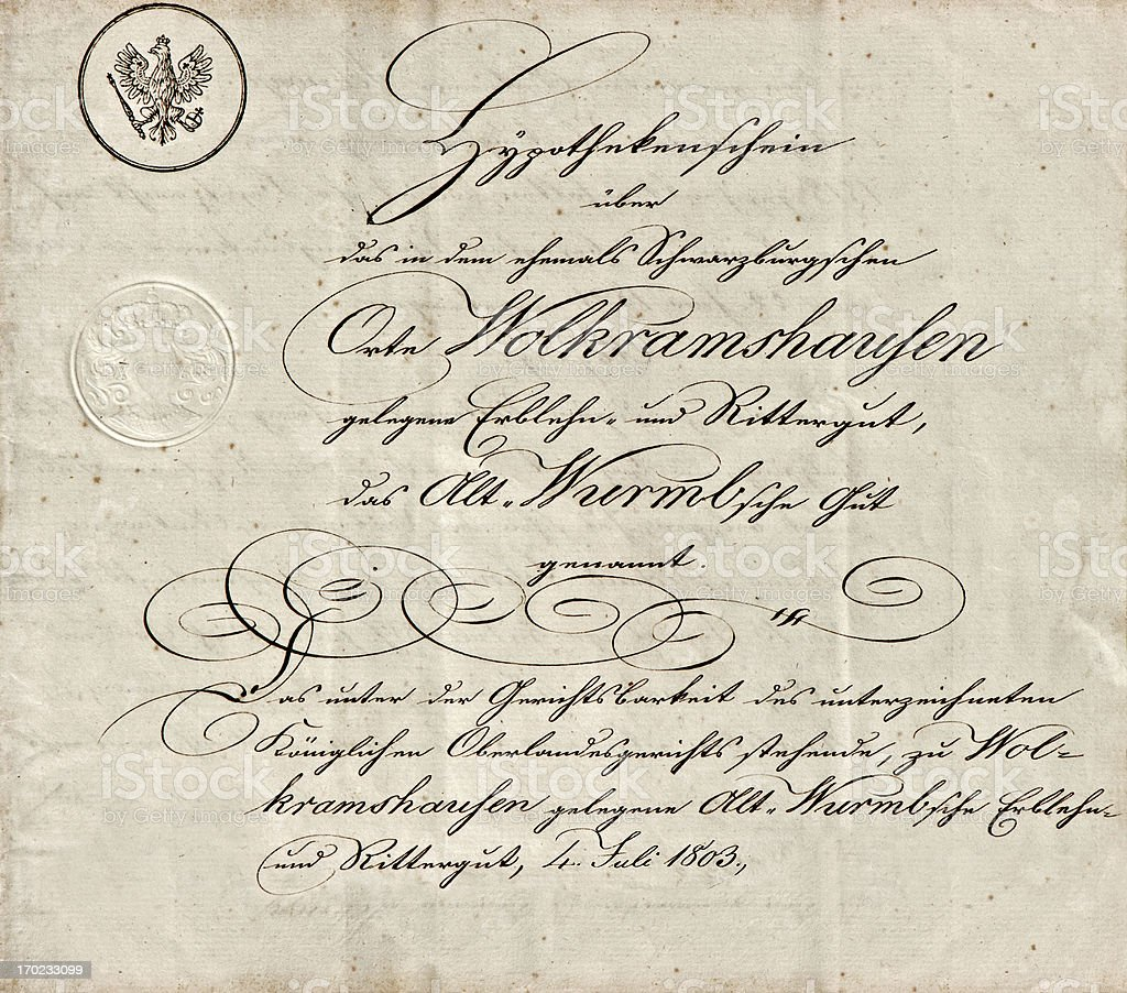 old manuscript with calligraphic handwritten text stock photo
