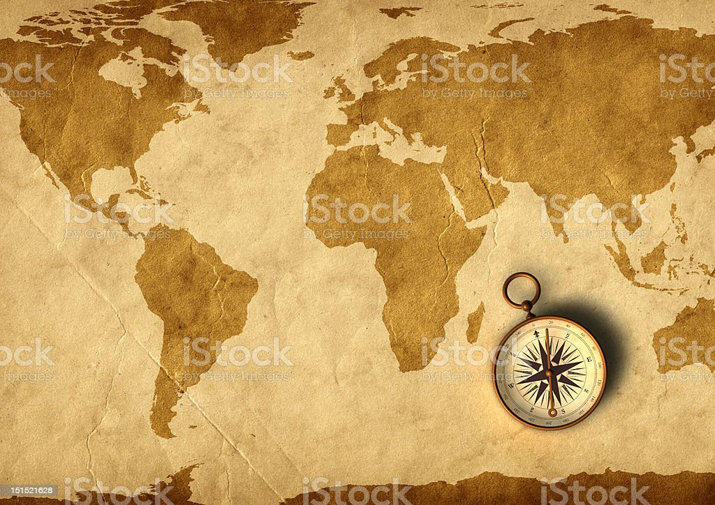 Old map and compass stock photo