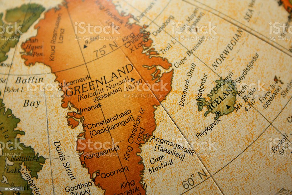 Old map depicting Greenland and Iceland stock photo