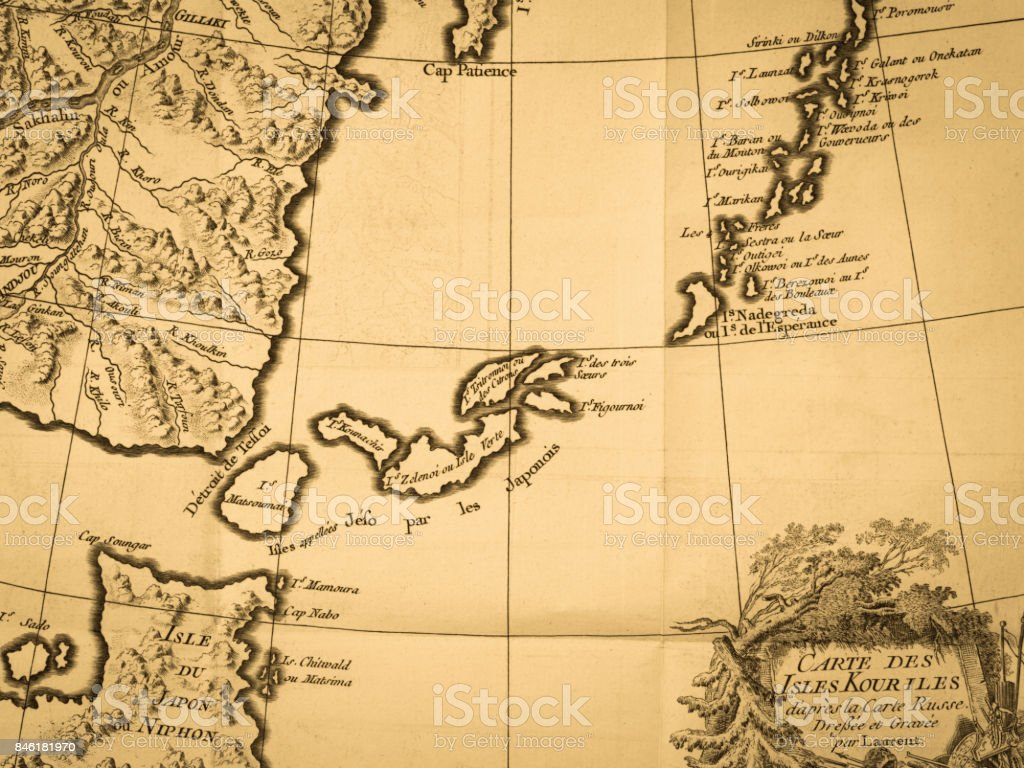 Old Map Kuril Islands stock photo
