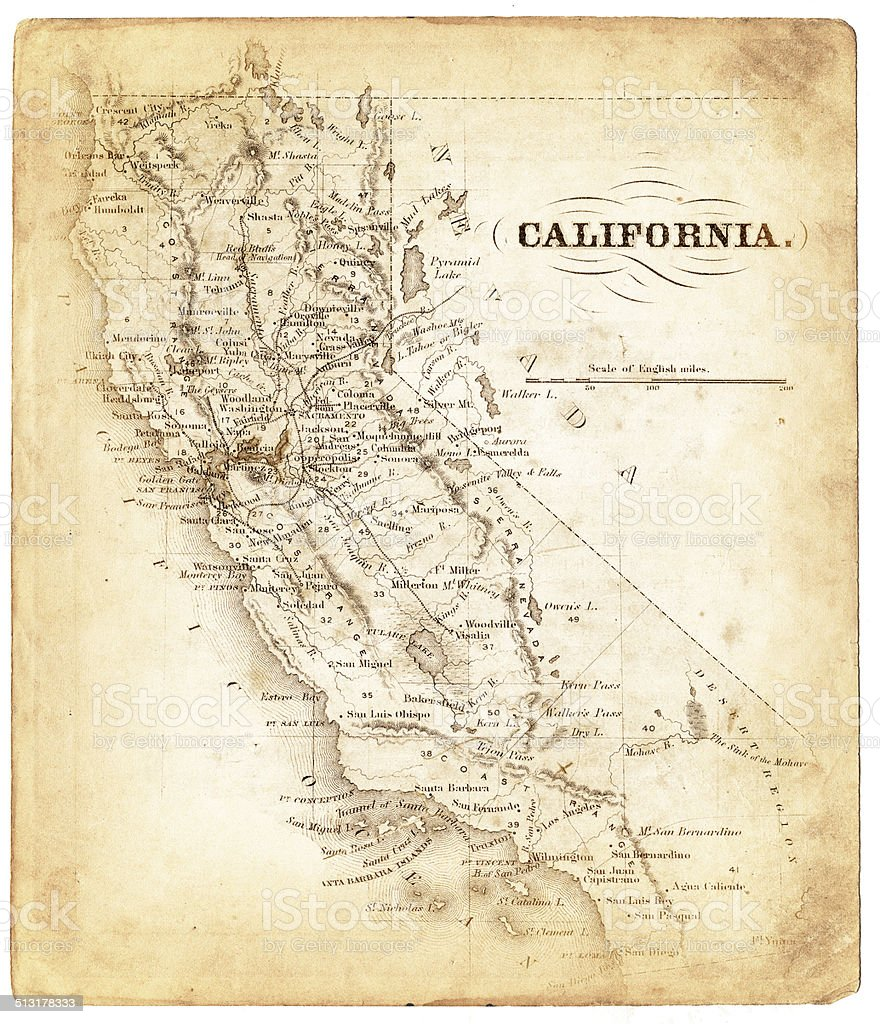 Old map of California 1876 stock photo