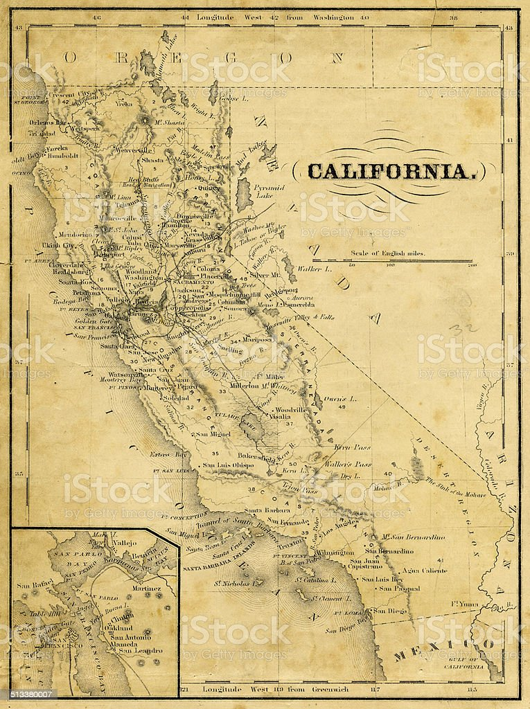 Old Map Of California 1876 Stock Photo More Pictures Of