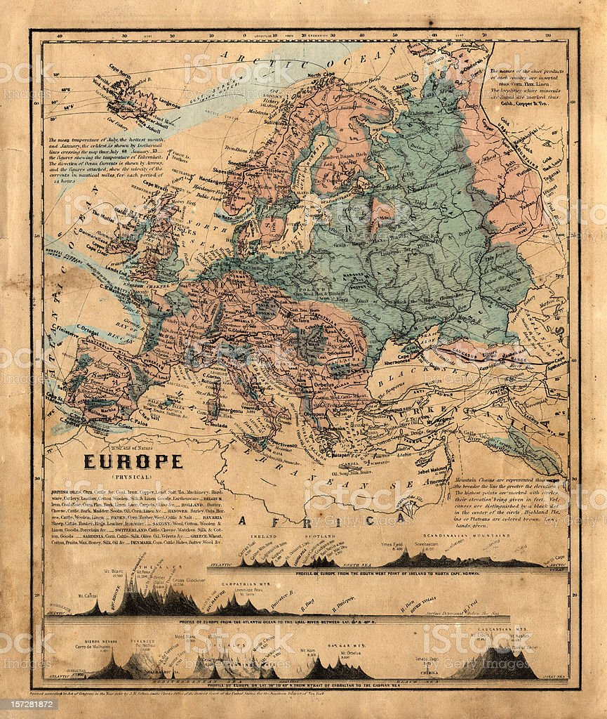 old map of Europe stock photo