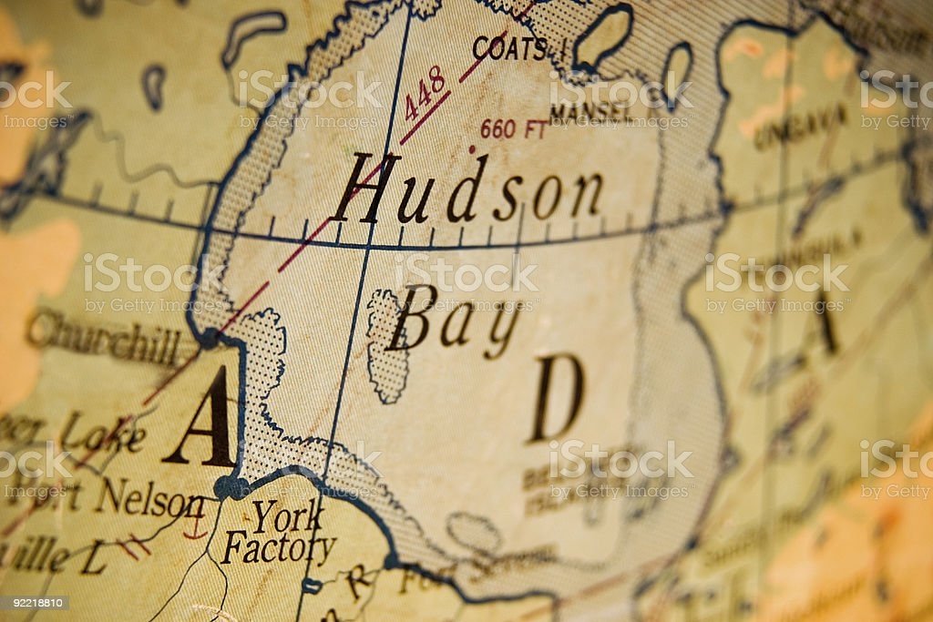 Old Map of Hudson Bay stock photo