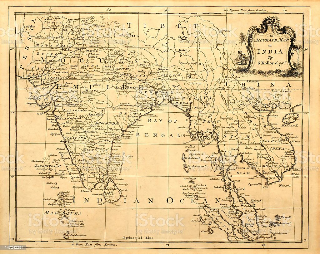 Old Map of India. stock photo
