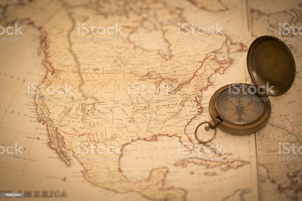 Old Map of North America and Compass royalty-free stock photo
