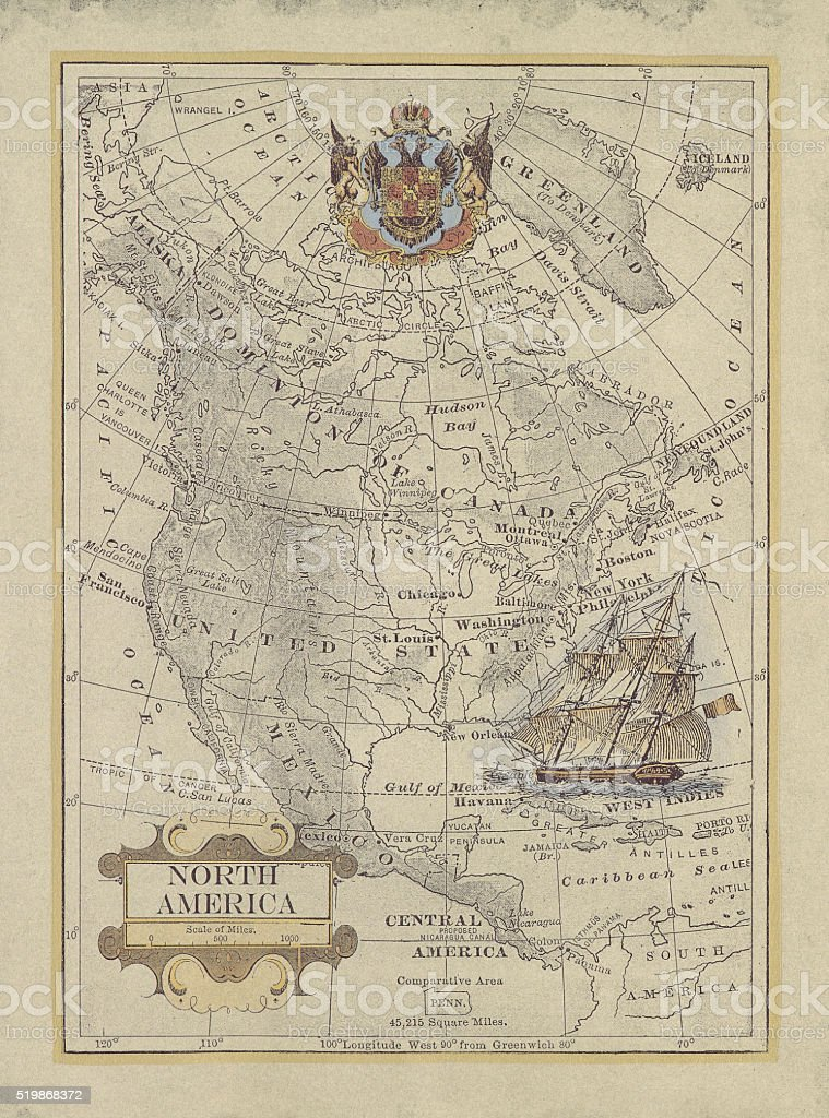 Old map of North America stock photo