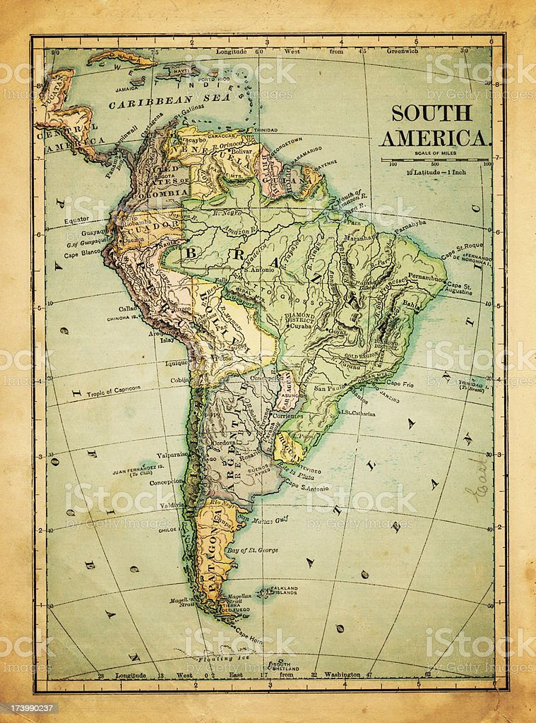 old map of south america stock photo