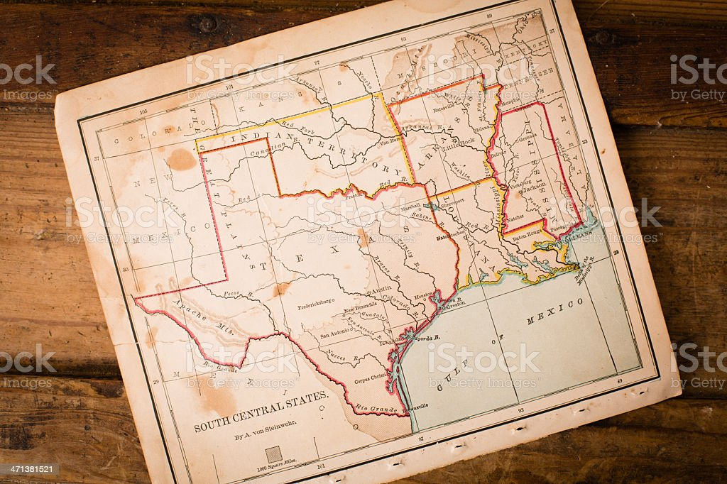 Old, Map of South Central States, Sitting Angled on Trunk stock photo