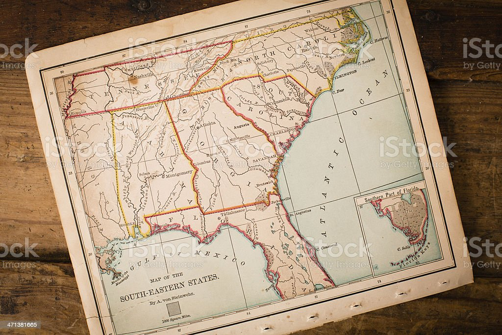 Old, Map of South Eastern States, Sitting Angled on Trunk royalty-free stock photo
