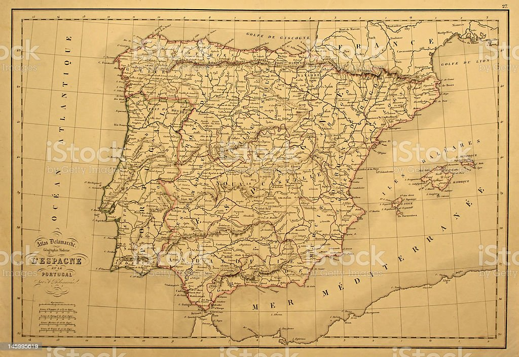Old Map of Spain and Portugal. stock photo