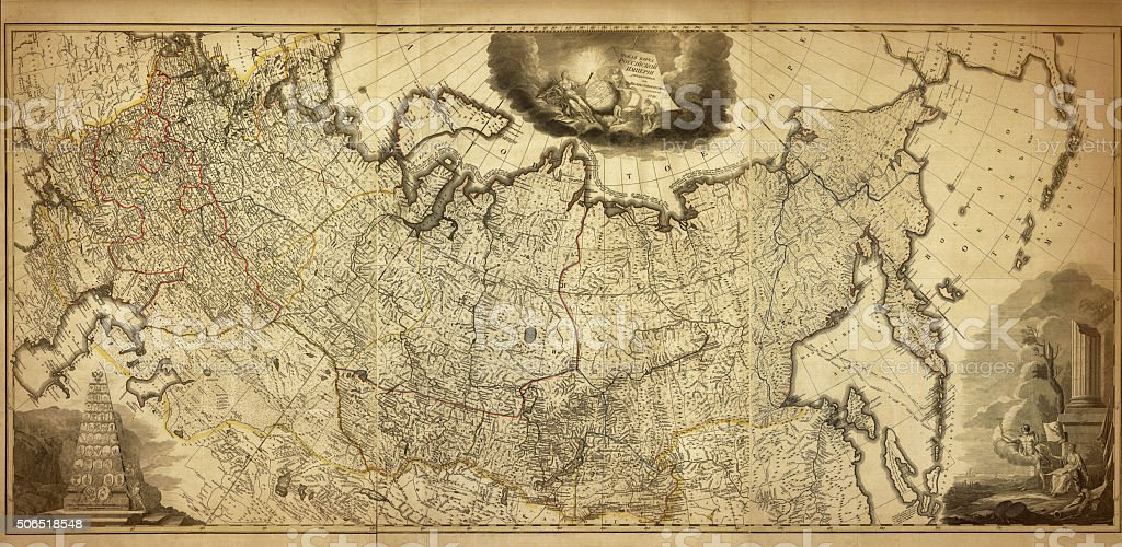 Old map of the Russia, printed in 1786 stock photo