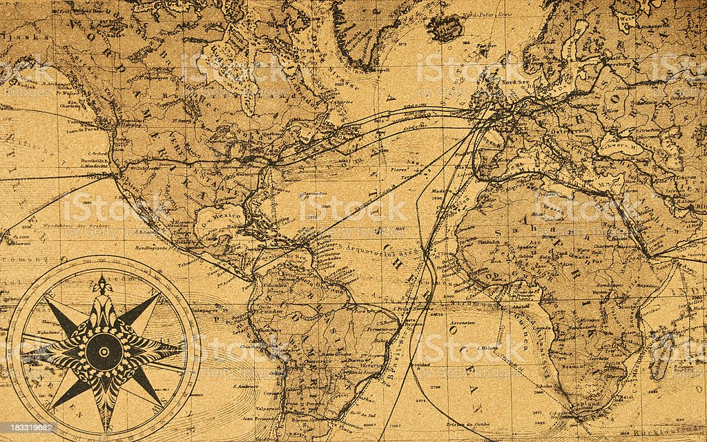 old map of the world stock photo