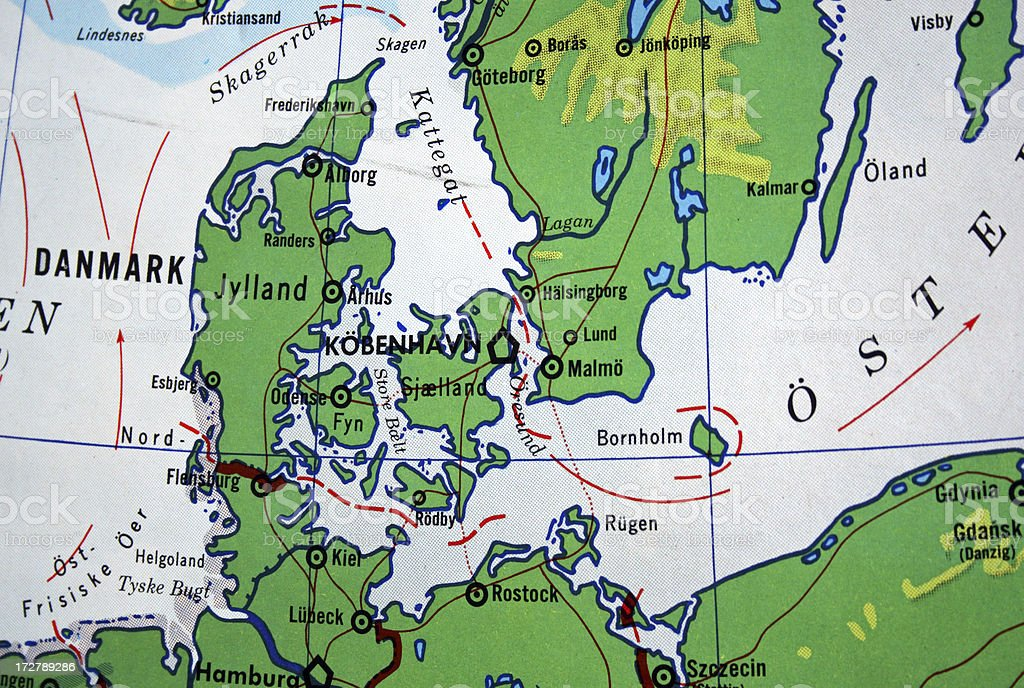 Old map showing Denmark royalty-free stock photo
