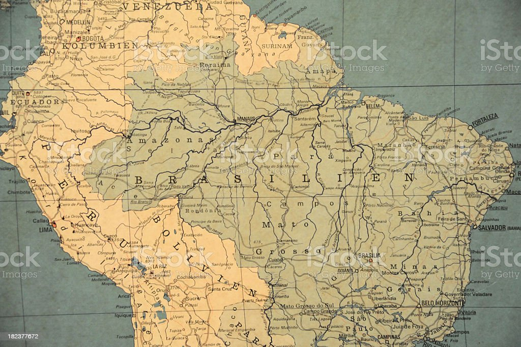 Old Map Southamerica royalty-free stock photo