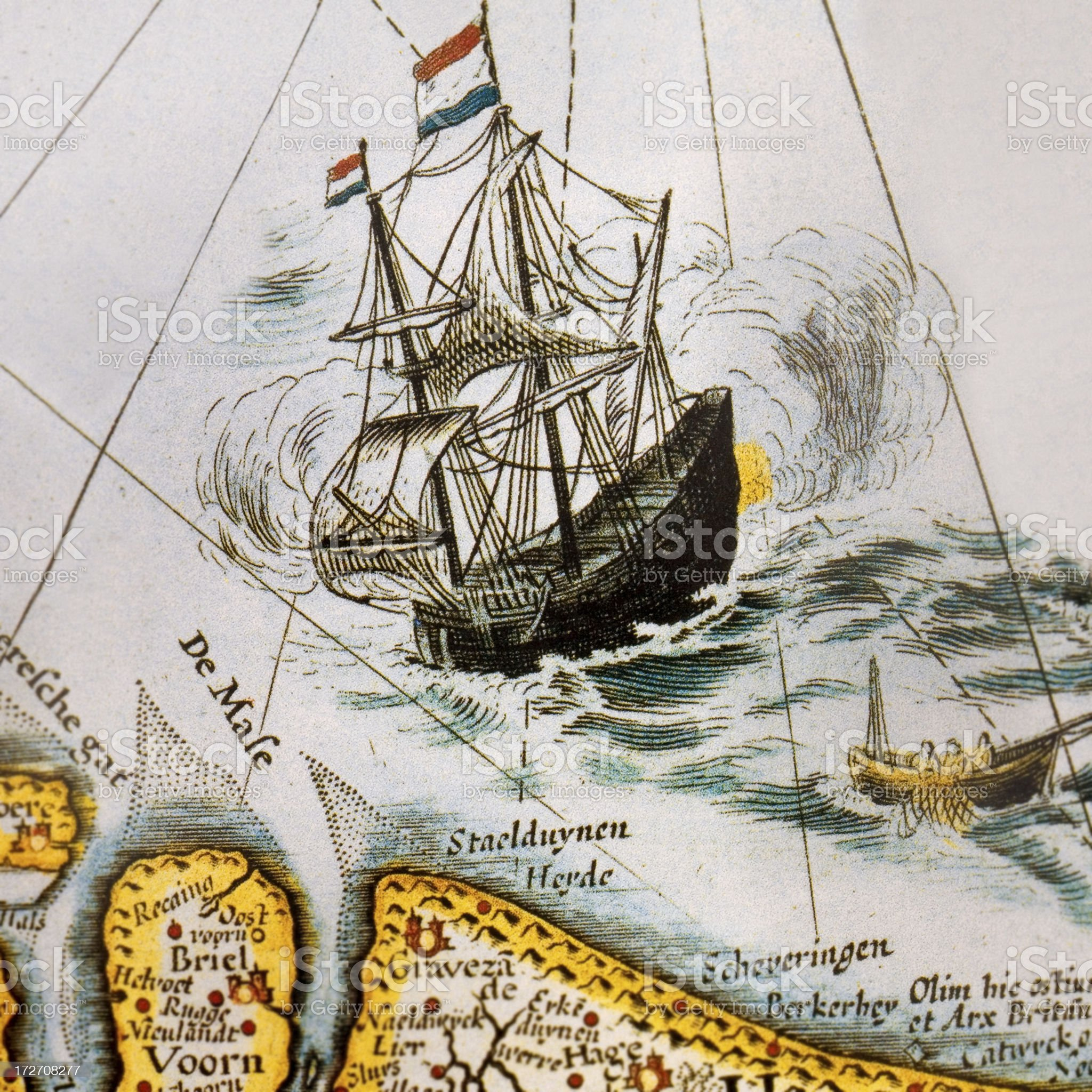 old map with ship and compass royalty-free stock photo
