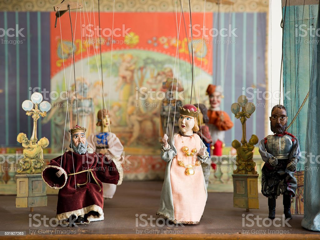 Old marionettes stock photo