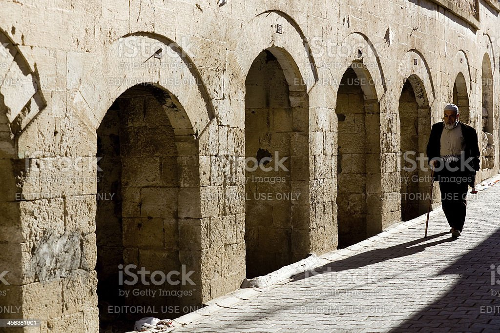 Old market place in Midyat stock photo