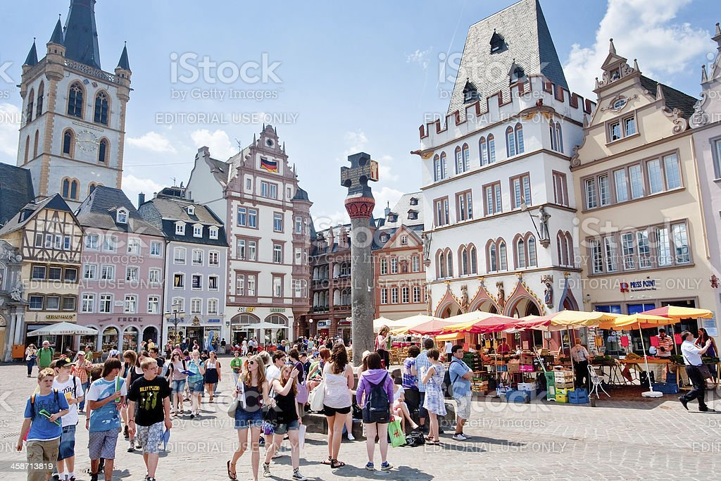 old Market square in Trier, Germany stock photo