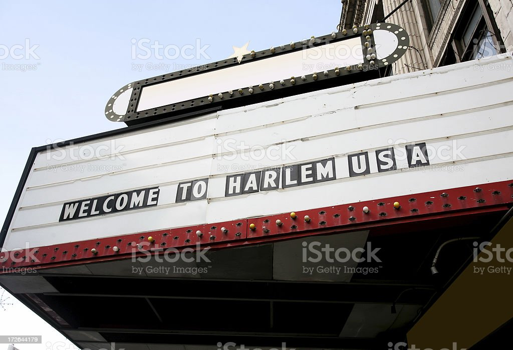 Old Marquee Sign In Harlem royalty-free stock photo