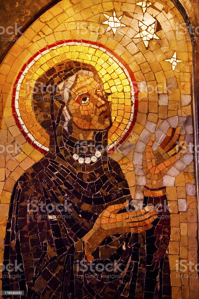 Old Mary Mosaic Monastery Montserrat Catalonia Spain stock photo