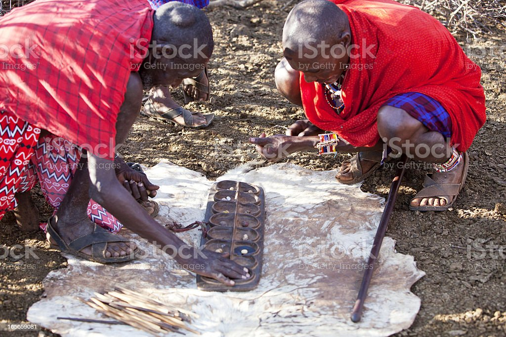 Old masaj men playing ubao. royalty-free stock photo