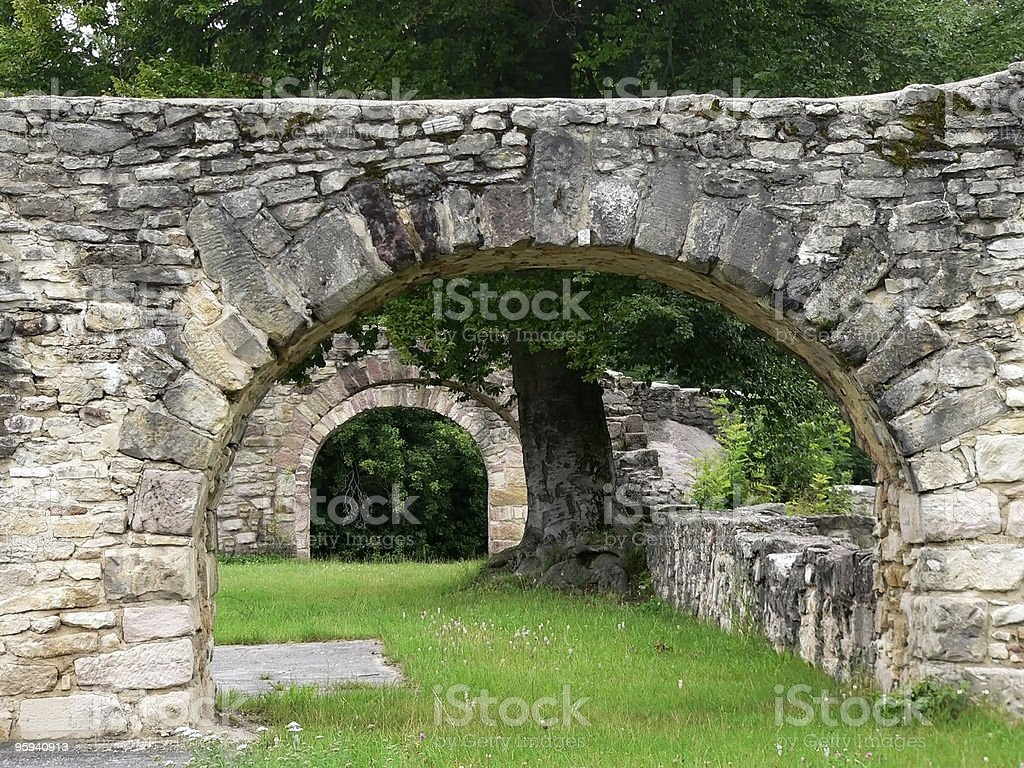 old mason archways in summer ambiance royalty-free stock photo