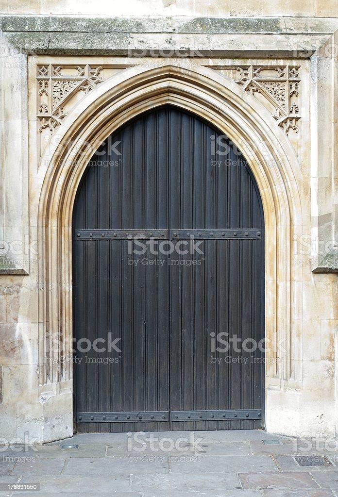Old massive door catholic church royalty-free stock photo