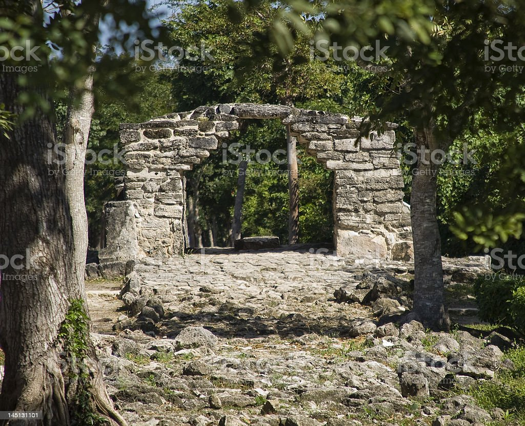 Old Mayan Arch royalty-free stock photo