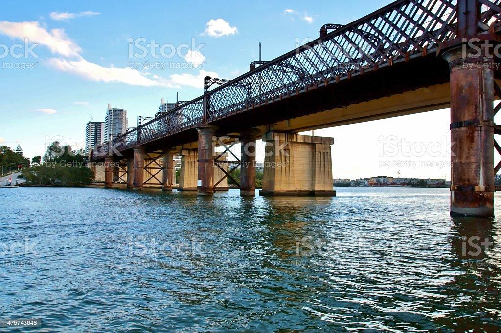 Old Meadowbank railway bridge, NSW stock photo
