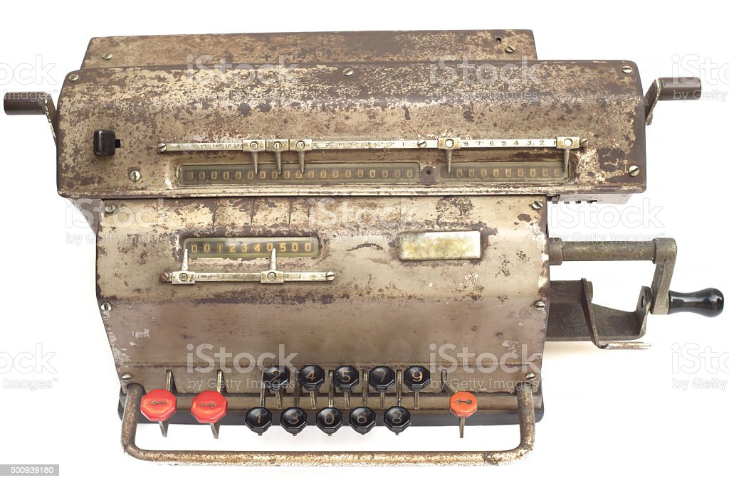 Old mechanical calculator stock photo