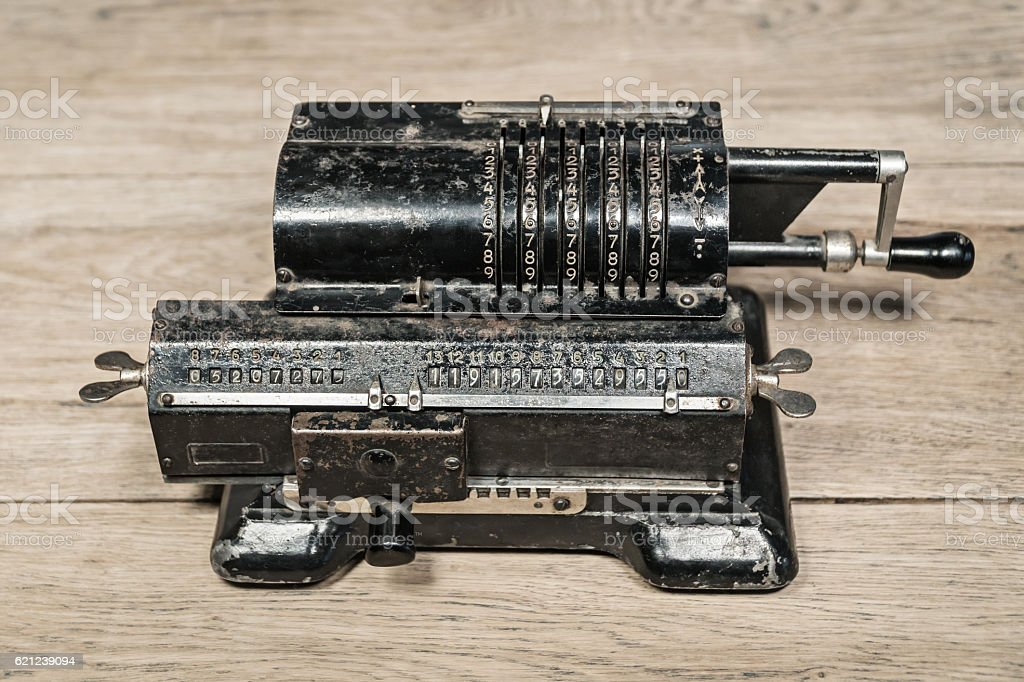 Old mechanical manual counting machine stock photo