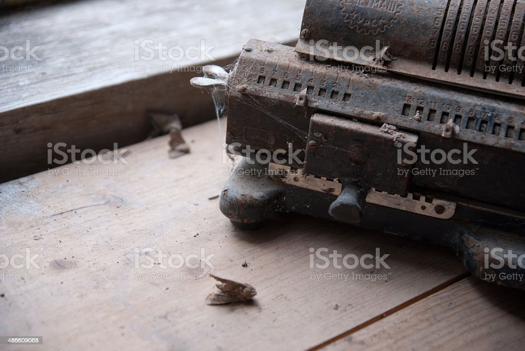 old mechanical manual machine stock photo