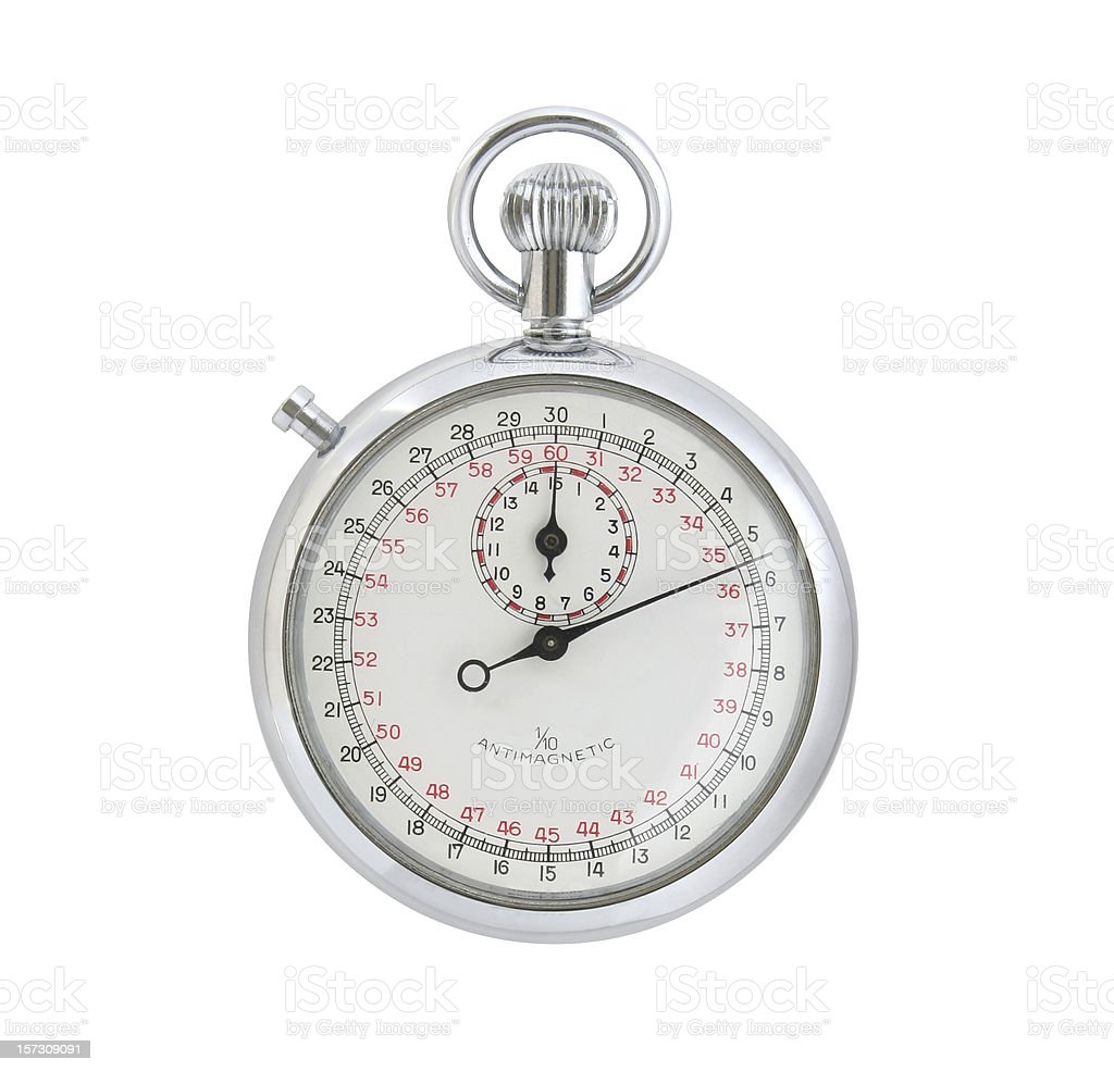 Old Mechanical Stop Watch - on white with clipping path royalty-free stock photo