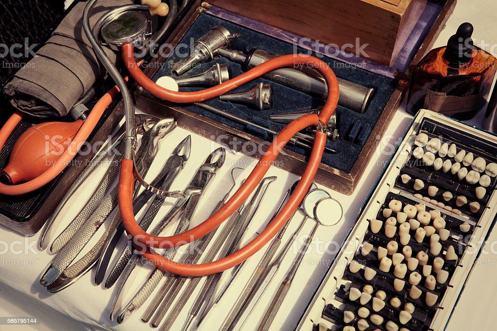 Old medical dental tools stock photo