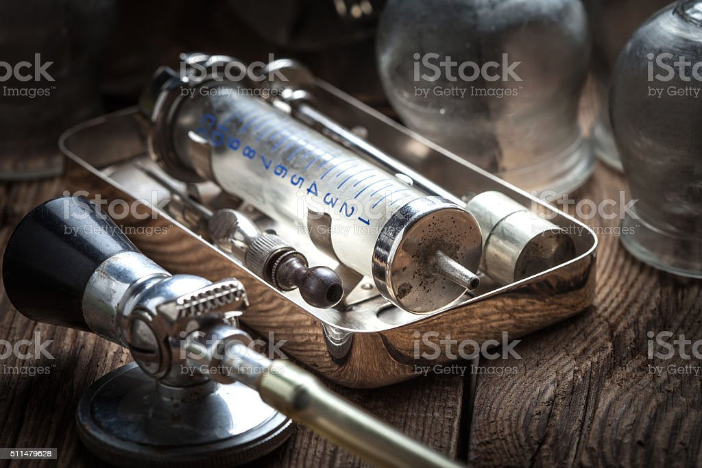 Old medical instruments. stock photo