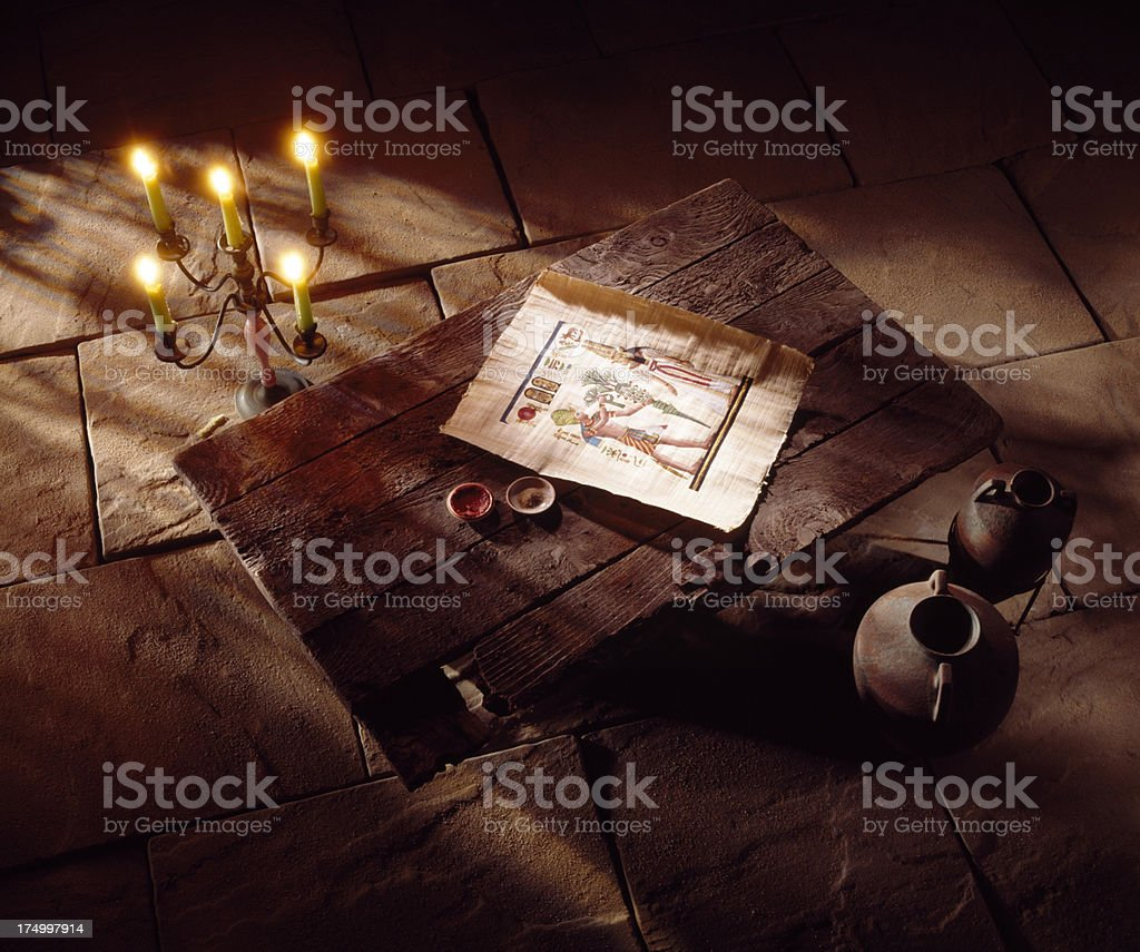 Old medieval antiques on the floor stock photo