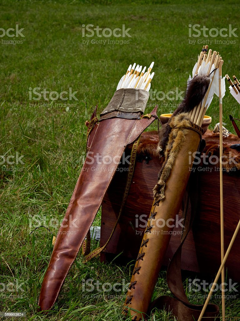 Old medieval bow and arrows stock photo
