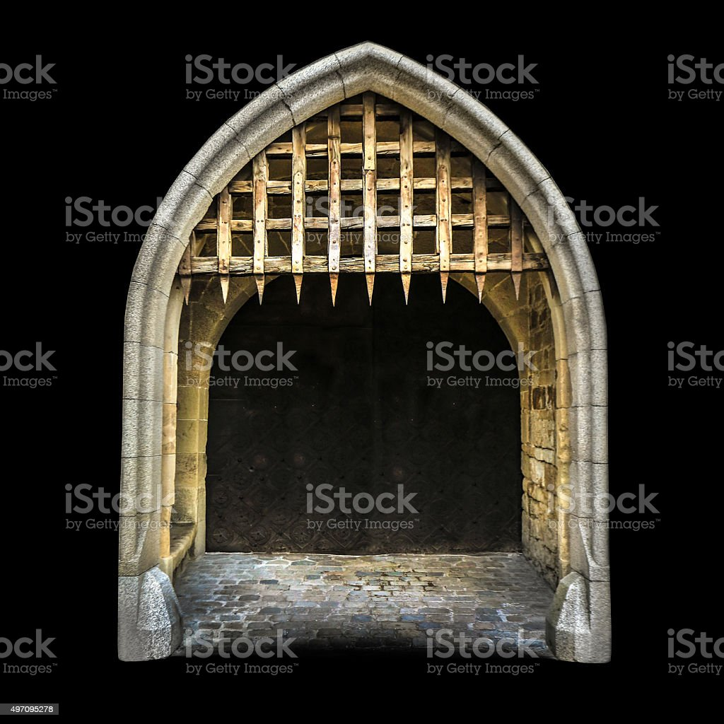 Old medieval castle gate stock photo